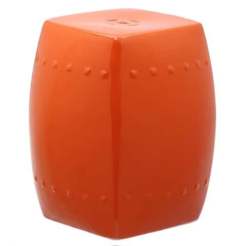 SAFAVIEH Villa Orange Ceramic Decorative Garden Stool