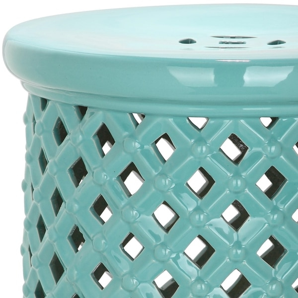 Safavieh Isola Light Blue Garden Stool   Free Shipping Today    Overstock.com   18780128