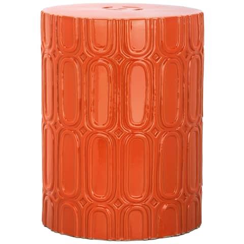 SAFAVIEH Melody Orange Ceramic Decorative Garden Stool