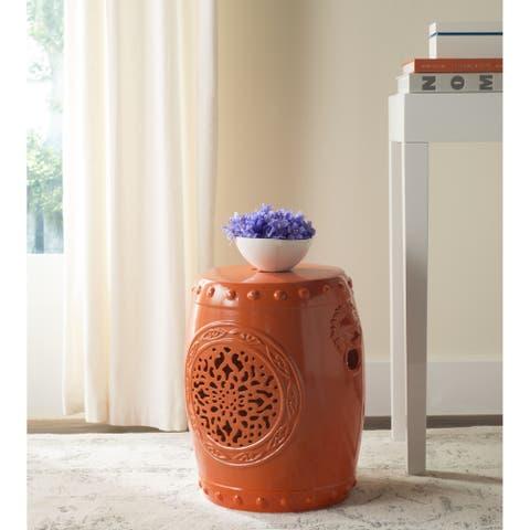 SAFAVIEH Flower Drum Orange Ceramic Decorative Garden Stool