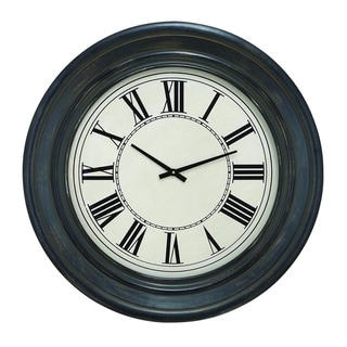 Dark Brown Finish with Black Roman Numerals Wood 32-inch Wall Clock