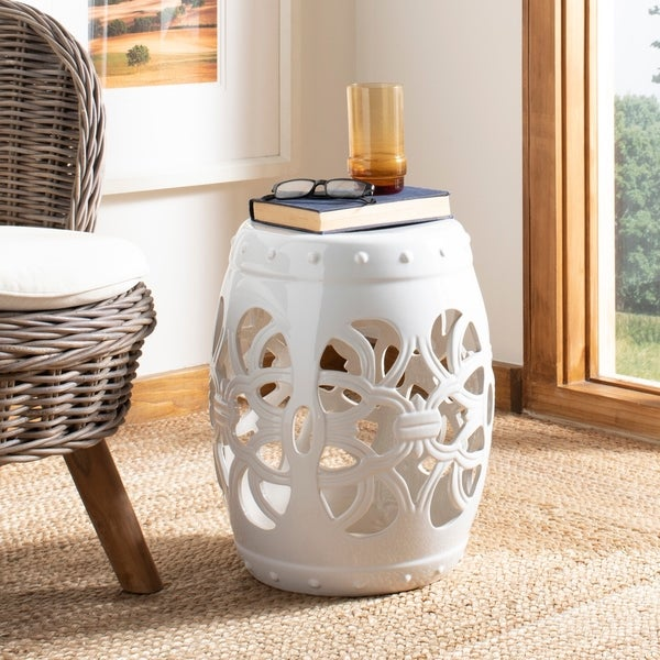Shop Safavieh Imperial Vine Antique White Garden Stool