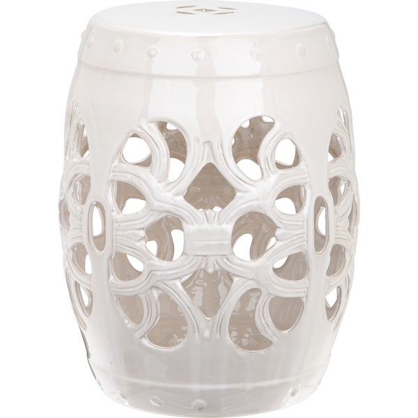 Safavieh Imperial Vine Antique White Garden Stool Free