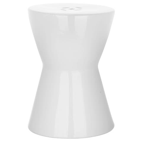 Safavieh Liana White Ceramic Decorative Garden Stool