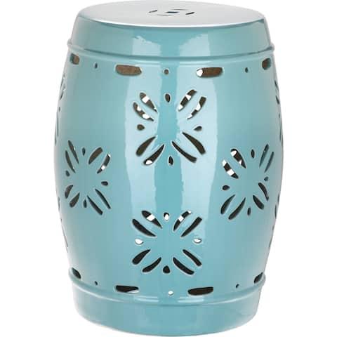 SAFAVIEH Sakura Aqua Ceramic Decorative Garden Stool