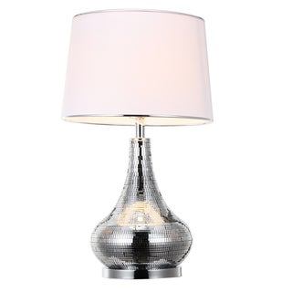 Rowell White/Silver Glass/Linen 15.5-inch x 27-inch Table Lamp