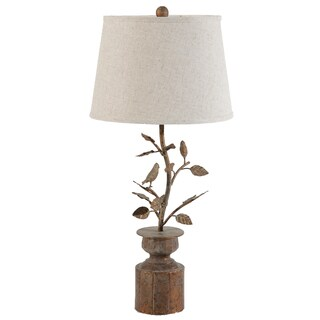 Hawthorn Birds Oxidized Bronze Linen/Copper Lamp