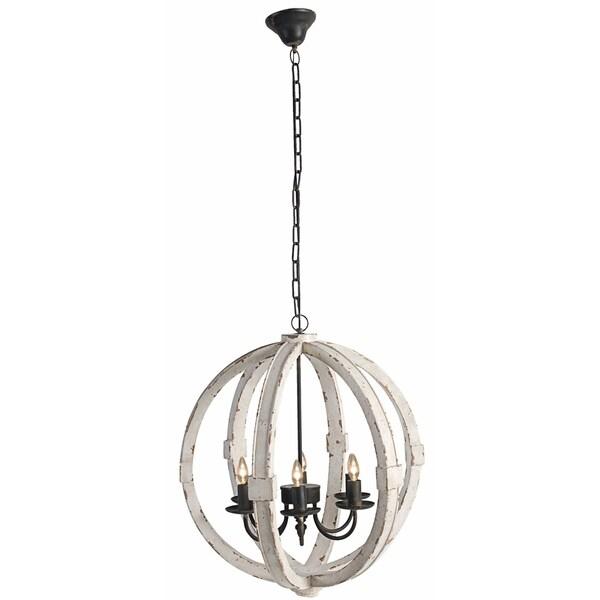 Calder White Aged-finish Wood/Metal 6-light Chandelier