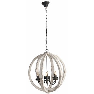 Y-Decor Capoli 4 Light Wooden Orb Chandelier in Neutral Finish ...