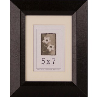 Leather Series Black/Brown Wood 5-inch x 7-inch Picture Frame