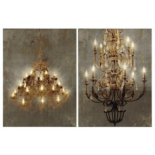 Grand Chandelier LED Canvas Wall Prints (Set of 2)