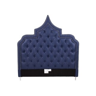 Chic Home Casablanca Navy Blue Button-tufted Bonded Leather with Silver Nailhead Trim Headboard