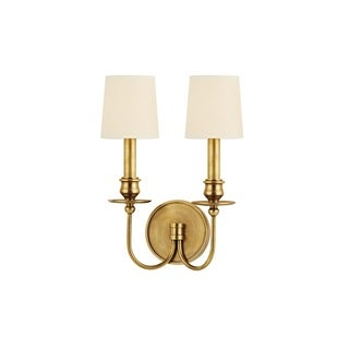 Hudson Valley Cohasset 2 Light Brass Wall Sconce with Cream Shade