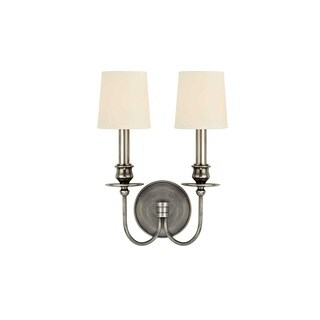 Hudson Valley Cohasset 2 Light Silver Wall Sconce with Cream Shade