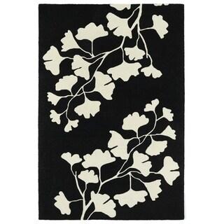 Hand-Tufted Seldon Black Floral Shadow Rug (9'0 x 12'0)