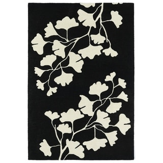"Hand-Tufted Seldon Black Floral Shadow Rug (5'0 x 7'9"") - 5' x 7'9"""