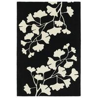 Hand-Tufted Seldon Black Floral Shadow Rug - 5' x 7'9