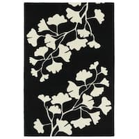 Hand-Tufted Seldon Black Floral Shadow Rug - 3' x 5'