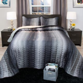 Windsor Home Striped Charcoal and Silver Metallic Bedspread Set|https://ak1.ostkcdn.com/images/products/11883533/P18780244.jpg?impolicy=medium