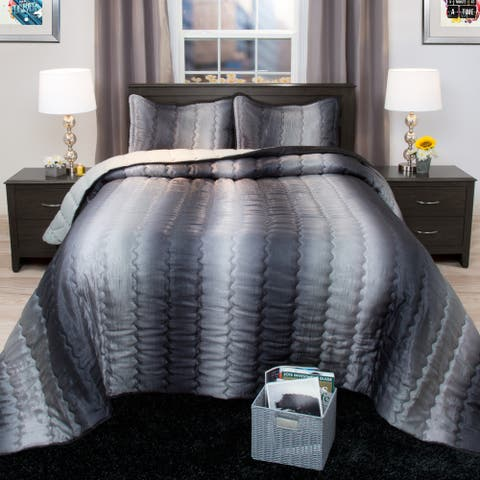 Windsor Home Striped Charcoal and Silver Metallic Bedspread Set