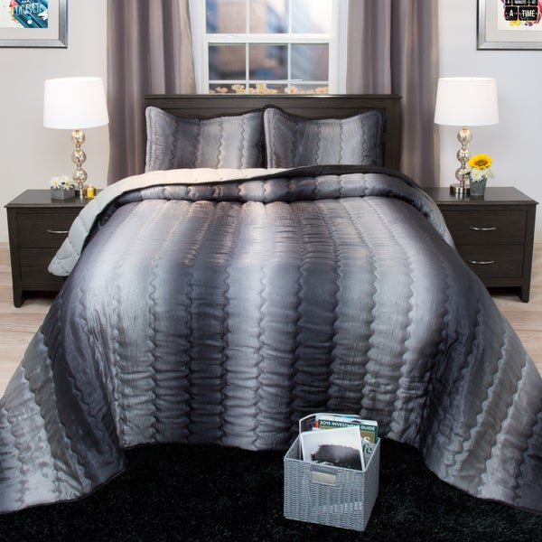 Shop Windsor Home Striped Charcoal And Silver Metallic