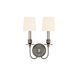 Hudson Valley Cohasset 2 Light Silver Wall Sconce with White Shade