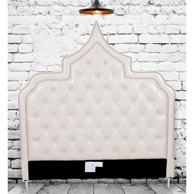 Chic Home Casablanca Cream White Bonded Leather Button-tu...