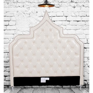 Chic Home Casablanca Cream White Bonded Leather Button-tufted with Silver Nailhead Trim Headboard