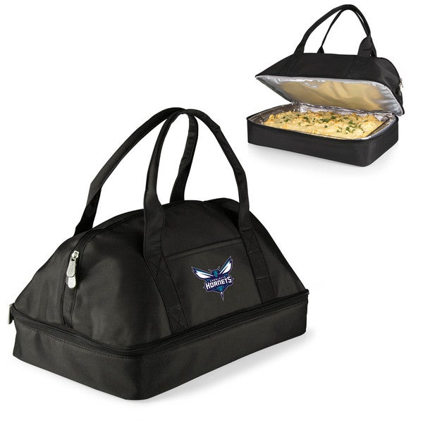 Picnic Time Charlotte Hornets Black Polyester and Aluminium 2-tiered Potluck Casserole Tote
