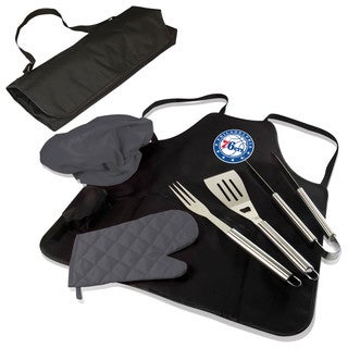 Picnic Time Philadelphia 76ers Polyester BBQ Apron Tote Pro with Stainless Steel BBQ Tools