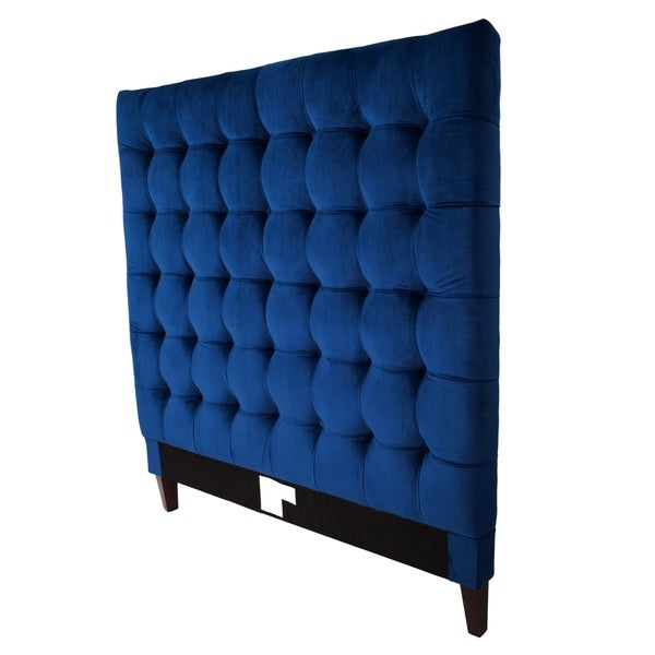 Rustic furniture bed - Iconic Home Beethoven Navy Blue Velvet Tufted Headboard Free