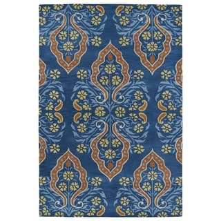 "Hand-Tufted Seldon Blue Damask Rug (5'0 x 7'9"") - 5' x 7'9"