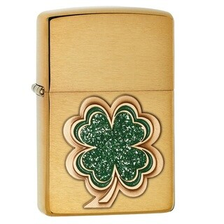Zippo Shamrock Green and Gold Pocket Lighter