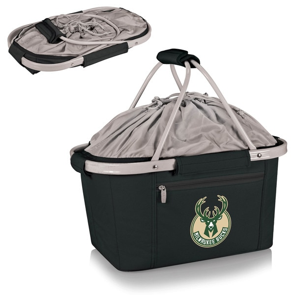 Picnic Time Milwaukee Bucks Black Polyester/Plastic/Aluminum Metro Basket Collapsible Tote