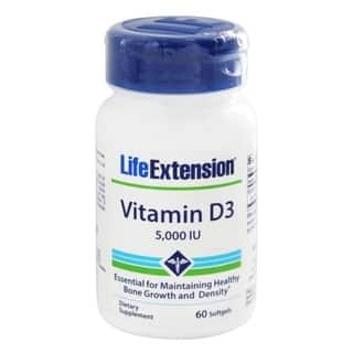 Life Extension Vitamin D3 60 Softgels 5,000 IU Dietary Supplement|https://ak1.ostkcdn.com/images/products/11883634/P18780384.jpg?impolicy=medium