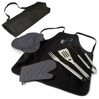 Picnic Time Utah Jazz Black Polyester and Stainless-steel BBQ Apron and Tote