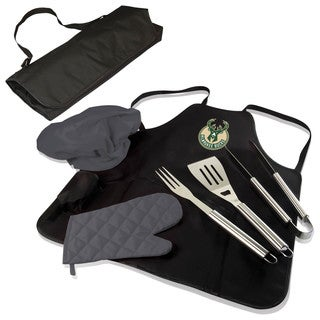 Picnic Time Milwaukee Bucks Polyester and Stainless Steel BBQ Apron Tote Pro