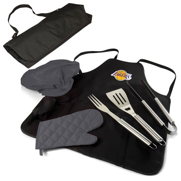 Picnic Time Los Angeles Lakers Black Polyester/Stainless Steel BBQ Apron Tote Pro
