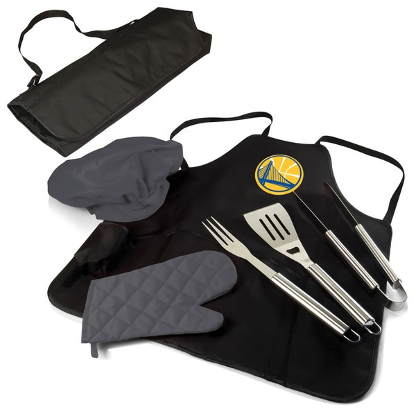 Picnic Time Golden State Warriors Black Polyester and Stainless Steel Portable BBQ Apron Tote Pro
