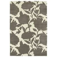 Hand-Tufted Seldon Grey Floral Shadow Rug - 3' x 5'