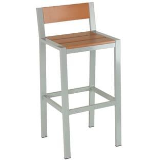 Cortesi Home Lola Silvertone/Teak Aluminum/Plastic Outdoor Barstool