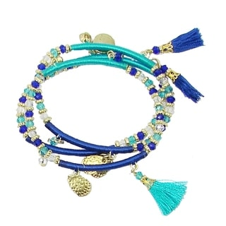 Handmade Triple Threaded Charm Bracelet - Cobalt (India)