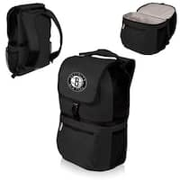 Picnic Time Brooklyn Nets Zuma Black Polyester Two-section Cooler Backpack