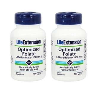 Life Extension 1000 mcg Optimized Folate (100 Vegetarian Tablets)