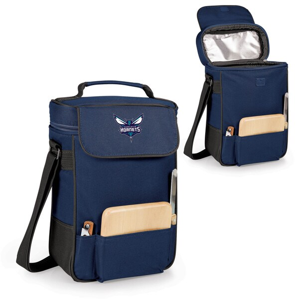 Picnic Time Charlotte Hornets Navy Polyester Duet Wine and Cheese Tote