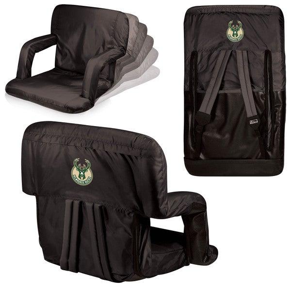 Picnic Time Milwaukee Bucks Black Polyester Ventura Seat Portable Recliner Chair