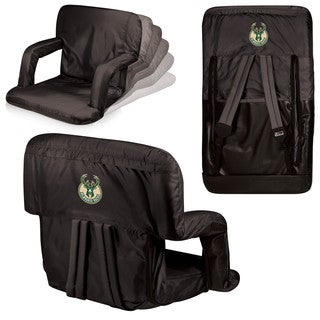 Picnic Time Milwaukee Bucks Black Polyester Ventura Seat Portable Recliner Chair
