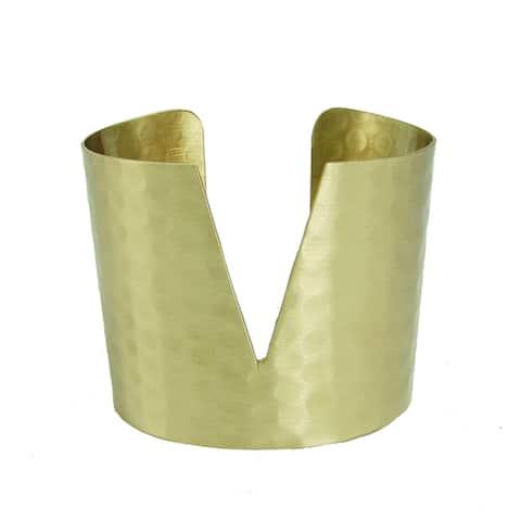 Handmade Goldtone Triangular Cuff Bracelet (India) - Gold