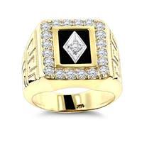 Luxurman Men's 14k Gold, Black Onyx and Diamond Ring (G-H, SI1-SI2)