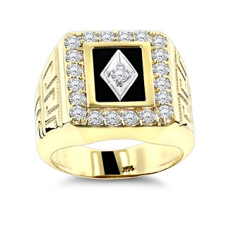 Luxurman Men's 14k Gold, Black Onyx and Diamond Ring (G-H, SI1-SI2)